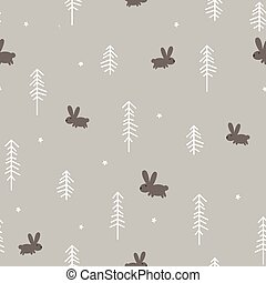 Winter Forest with a Rabbit - Vector illustration of a...
