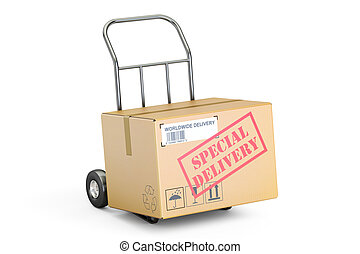Special delivery concept. Cardboard box on hand truck, 3D rendering