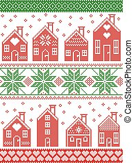 Seamless Scandinavian style and Nordic culture inspired Christmas and festive winter pattern in cross stitch style with gingerbread house village including decorative elements in red, white , green