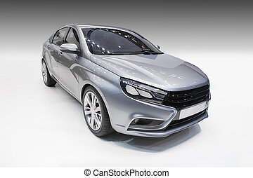 car on a gradient background - modern gray car on a gradient...