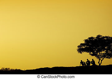 silhouette of three man sitting beside a tree in sunset