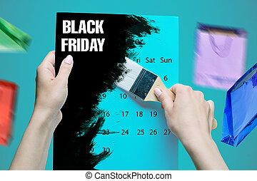 Black Friday sale - holiday shopping concept - text on note...