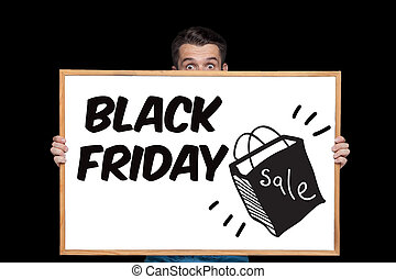 Black Friday sale - holiday shopping concept - text on board...