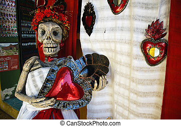Souvenirs in Oaxaca Mexico - Plastic of skeleton woman -...