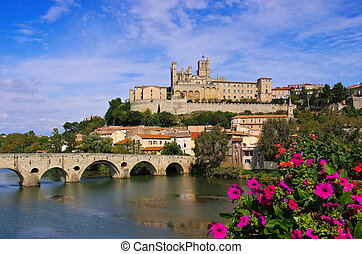 Cathedral and the River Orb in Beziers, France - Cathedral...