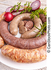 Black pudding, white pudding and sausage - Home made black...