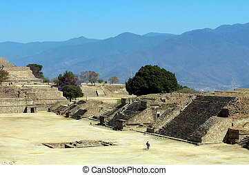 Ruins, Monte Alban, Mexico - Ancient ruins on Monte Alban in...