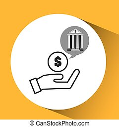bank concept safe hand money icon