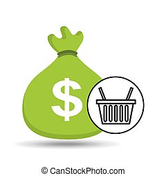 sack money with basket shopping online