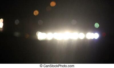 headlights at night defocused