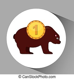 concept stock exchange market bear sell icon vector...