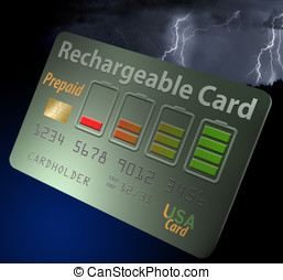 Rechargeable credit, debit card. Prepaid. Isolated.