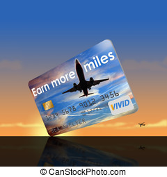 Earn more miles credit card. Isolated.