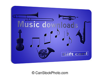 Generic music download gift card isolated on white...