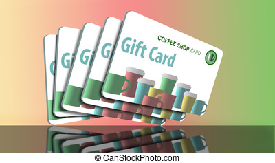 Generic music download gift cards on colorful pastel...