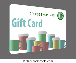 Gift card for coffee shop isolated