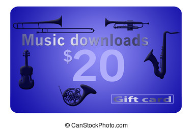 Music download card isolated on white