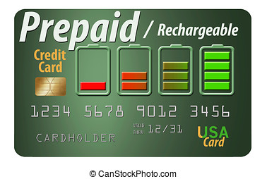 Prepaid credit card isolated on white background - A Prepaid...