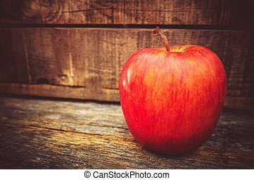 Tasteful Red Apple - Fresh Tasteful Red Apple on the Wooden...