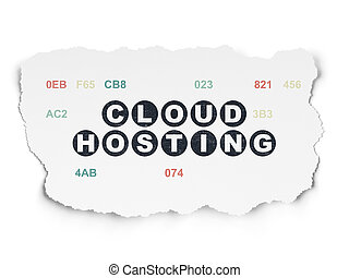 Cloud networking concept: Cloud Hosting on Torn Paper...