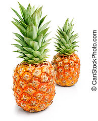 fresh pineapple fruits with green l