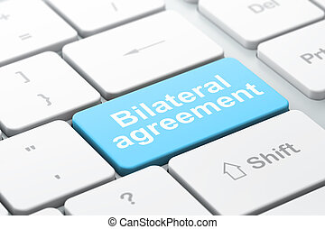 Insurance concept: Bilateral Agreement on computer keyboard...