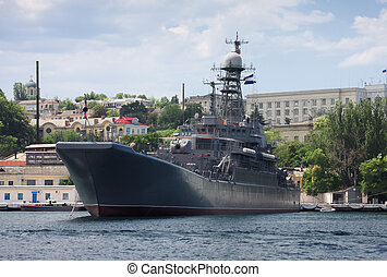Battleship in Sevastopol - Battleship on Black sea in summer...