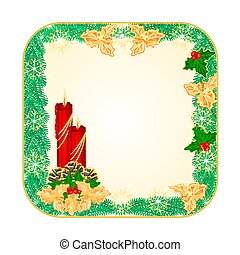 Button square Christmas red candlestick and pine cones...