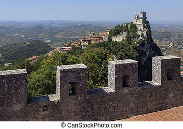 Republic of San Marino - The fortress of Guaita on Mount...