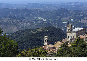 Republic of San Marino - View from the fortress of Guaita on...