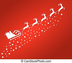 Santa Claus in sled rides in the reindeer on a red backgrou...