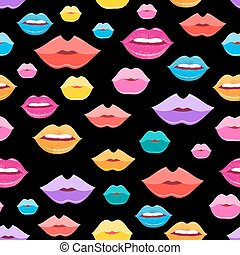 Wonderful vector pattern of lips - Bright vector pattern of...