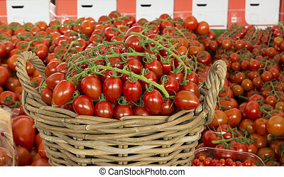 basket with red tomatoes - reed basket with red tomatoes...
