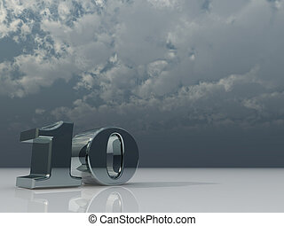 ten - chrome number ten - 10 - under dark cloudy sky - 3d...