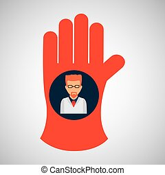 chemical glove with scientist chemistry graphic