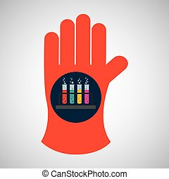 chemical glove with test tube rack icon vector illustration...