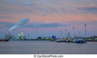 Port of Eemshaven under beautiful sunset - Port of Eemshaven...