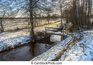 Dutch Winter landscape with light snow