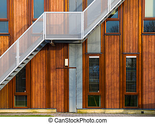 modern wooden building exterior - Escape stairs on a modern...