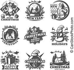 Monochrome Christmas Labels Set - Nine isolated monochrome...