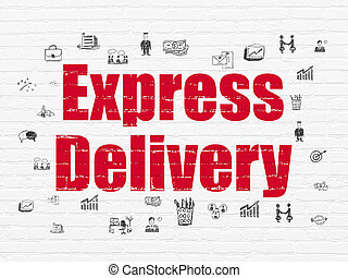 Finance concept: Express Delivery on wall background -...