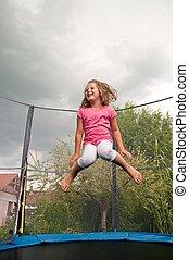 grande, diversión, -, niño, Saltar,...