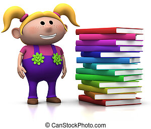 girl wit stack of books - cute blond girl standing beside a...