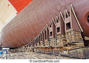 Ship launching - new ship ready for launching in shipyard