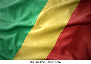 waving colorful flag of republic of the congo. - waving...