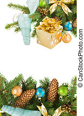 christmas tree and decorations with gift box - christmas...