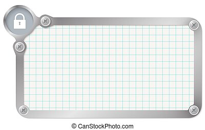 Metal frame for your text with graph paper and padlock