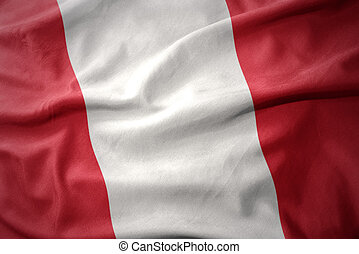 waving colorful flag of peru. - waving colorful national...