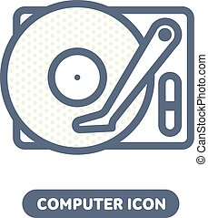 Laptop vector icon in linestyle - Vector computer HDD drive...