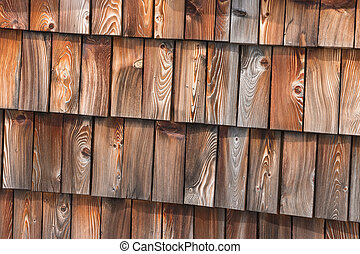 traditional wooden roof shingles - closeup of traditional...
